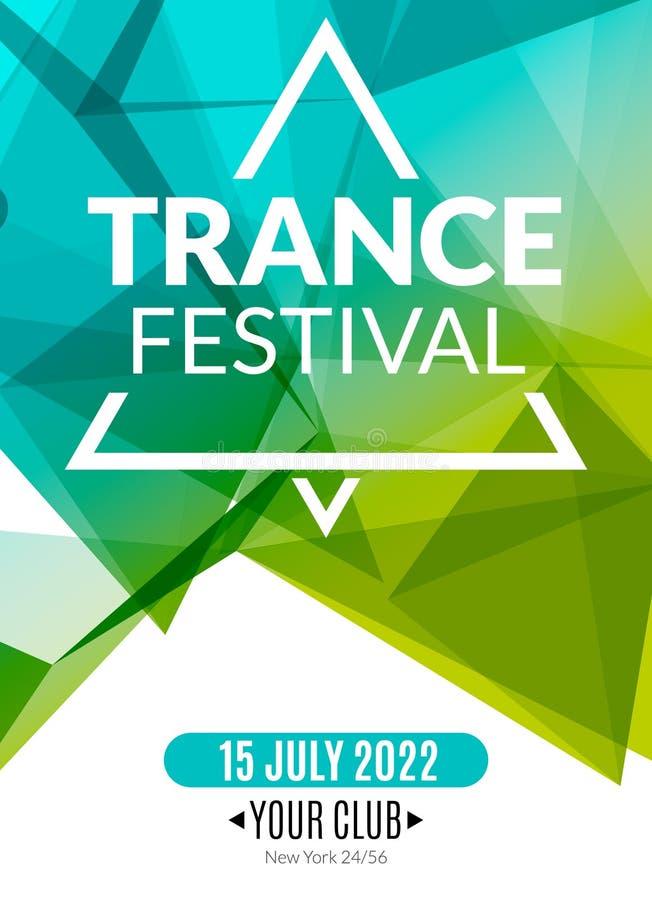 Cartaz eletrônico da música de festival do transe do clube Inseto musical do DJ do evento Som do transe do disco Partido da noite ilustração do vetor