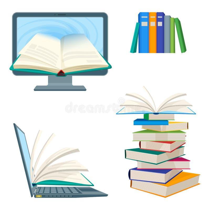 Cartaz em linha da enciclopédia com computador e caderno, livros de texto digitais ilustração royalty free