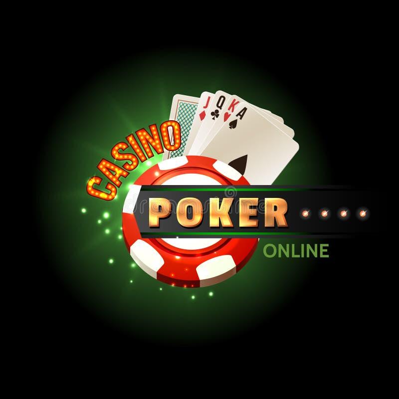 Cartaz em linha do pôquer do casino ilustração do vetor