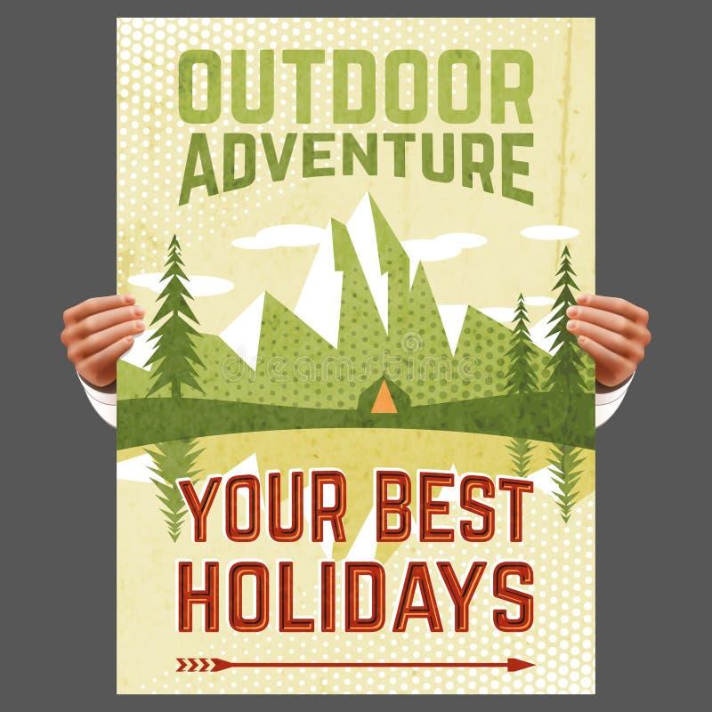 Cartaz exterior do turismo da aventura ilustração do vetor