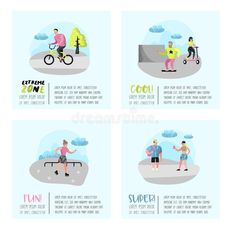 Cartaz extremo dos esportes, bandeira, folheto Skateboarding do adolescente, homem na bicicleta, rolamento da menina Povos ativos ilustração stock