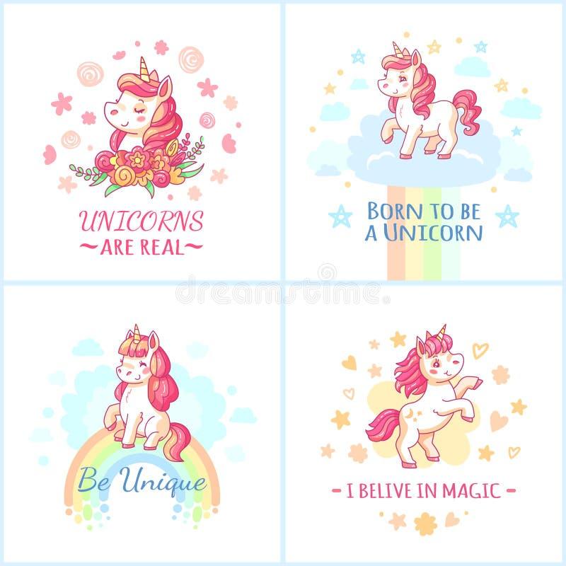 Cartaz feericamente do unicórnio Unicórnios mágicos do arco-íris doce do grupo imprimível do vetor dos cartazes dos sonhos felize ilustração do vetor