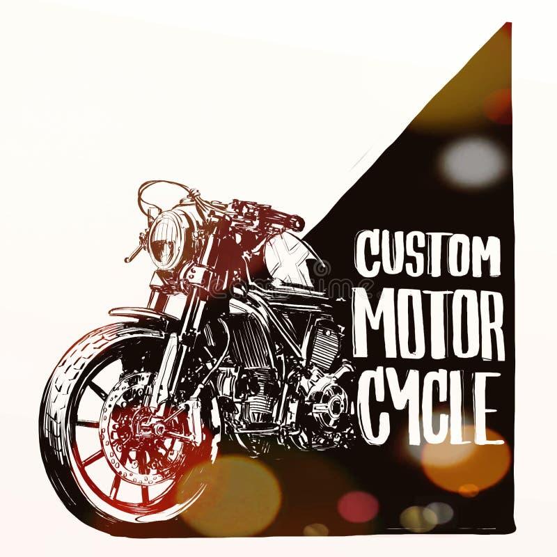 Cartaz feito sob encomenda da motocicleta imagem de stock royalty free