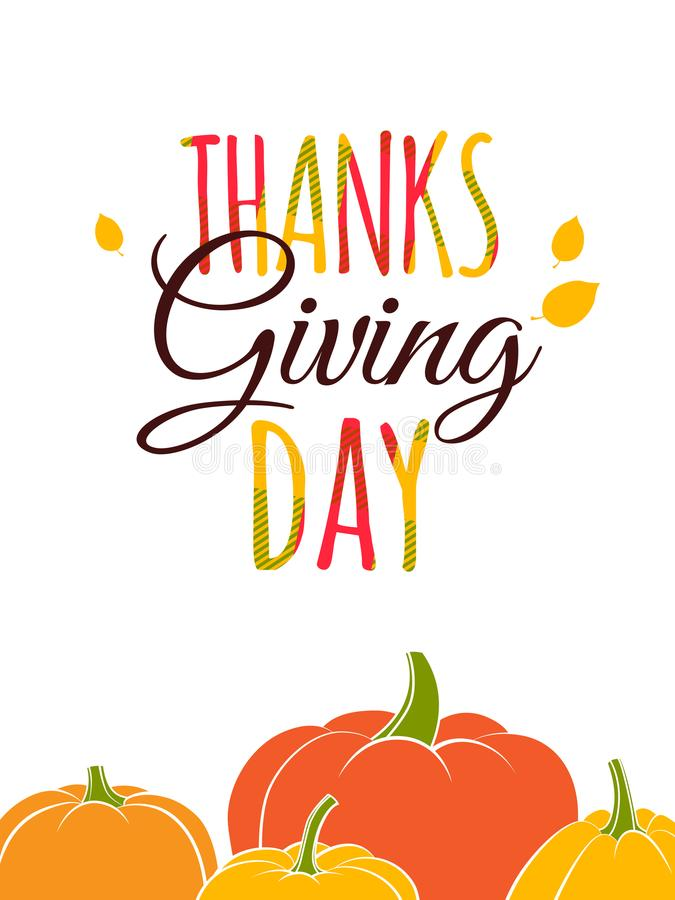Cartaz feliz da rotulação da tipografia do dia da ação de graças Colheita da abóbora da queda do outono ilustração do vetor