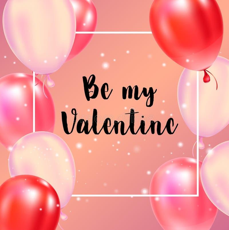 Cartaz feliz da tipografia do dia de Valentim com texto escrito à mão da caligrafia ilustração do vetor