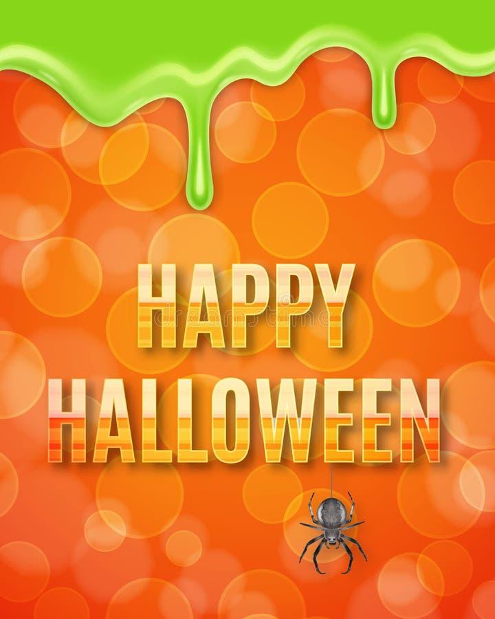 Cartaz feliz de Dia das Bruxas com aranha ilustração do vetor
