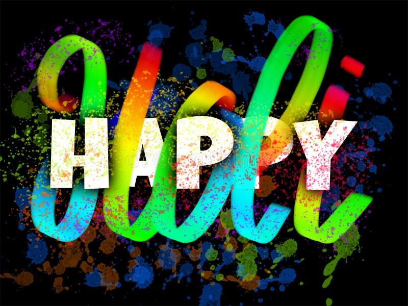 Cartaz feliz de Holi com manchas coloridas da rotulação e da tinta da mão ilustração royalty free