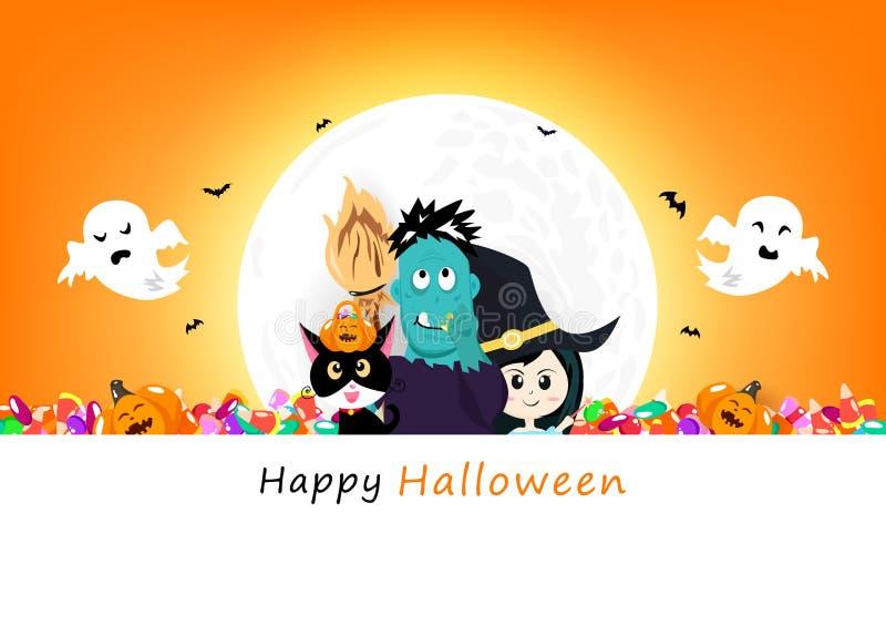 Cartaz feliz do convite de Dia das Bruxas, abóbora, gato preto, doces, monstro do zombi, bruxa e caráteres bonitos assustadores c ilustração do vetor