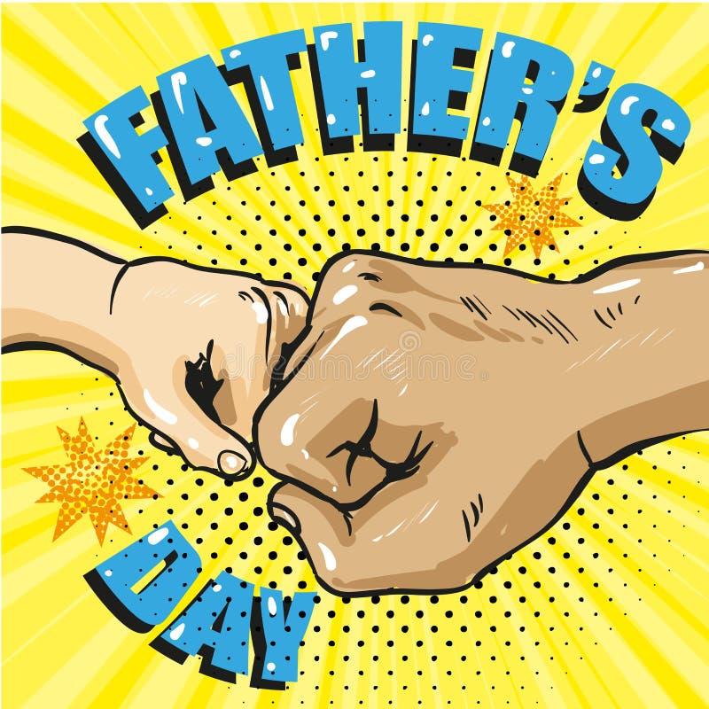Cartaz feliz do dia de pais no estilo cômico retro PNF Art Vetora Illustration imagem de stock