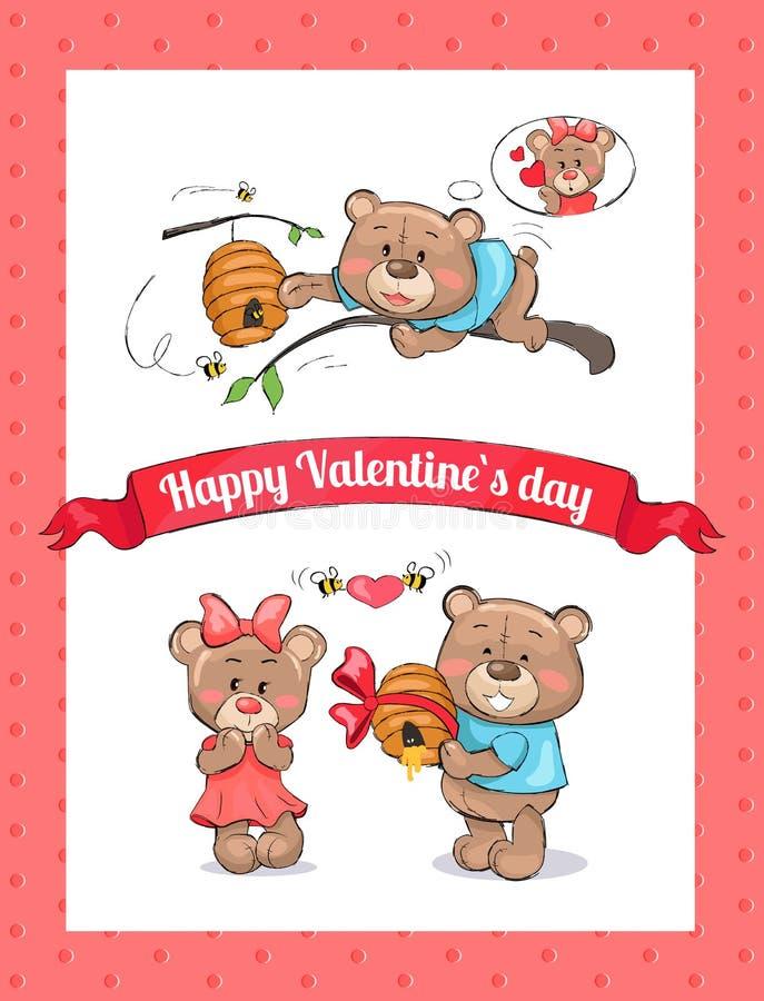 Cartaz feliz do dia de Valentim com a colmeia masculina do urso ilustração do vetor