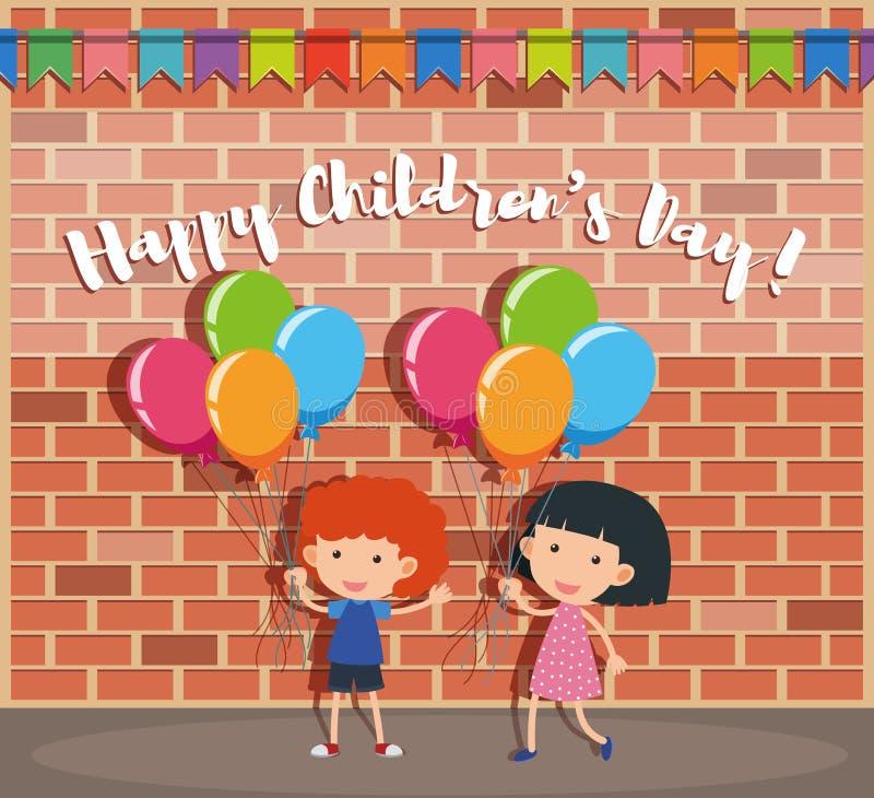 Cartaz feliz do dia do ` s das crianças com menino e menina na rua ilustração do vetor