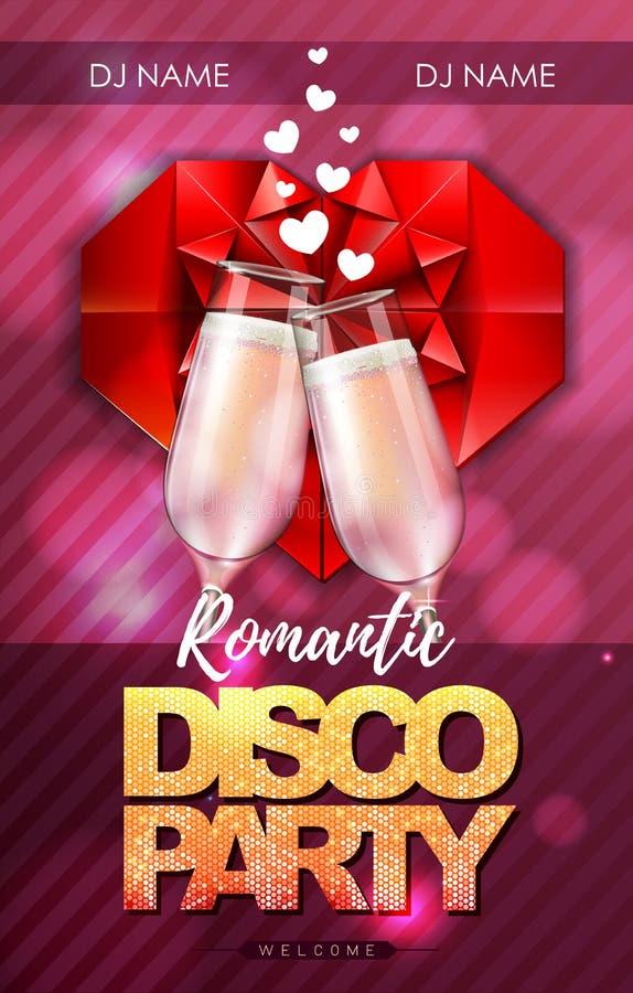 Cartaz feliz do partido de disco do dia de Valentim com vidros do champanhe ilustração royalty free