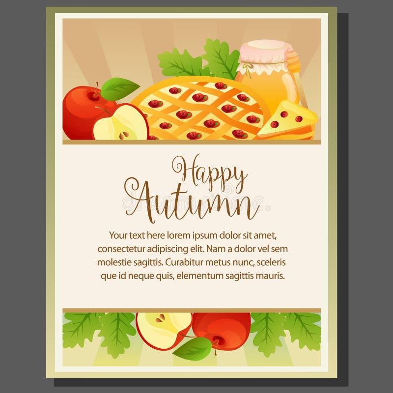 Cartaz feliz do tema da ação de graças do outono com bolo da torta ilustração do vetor