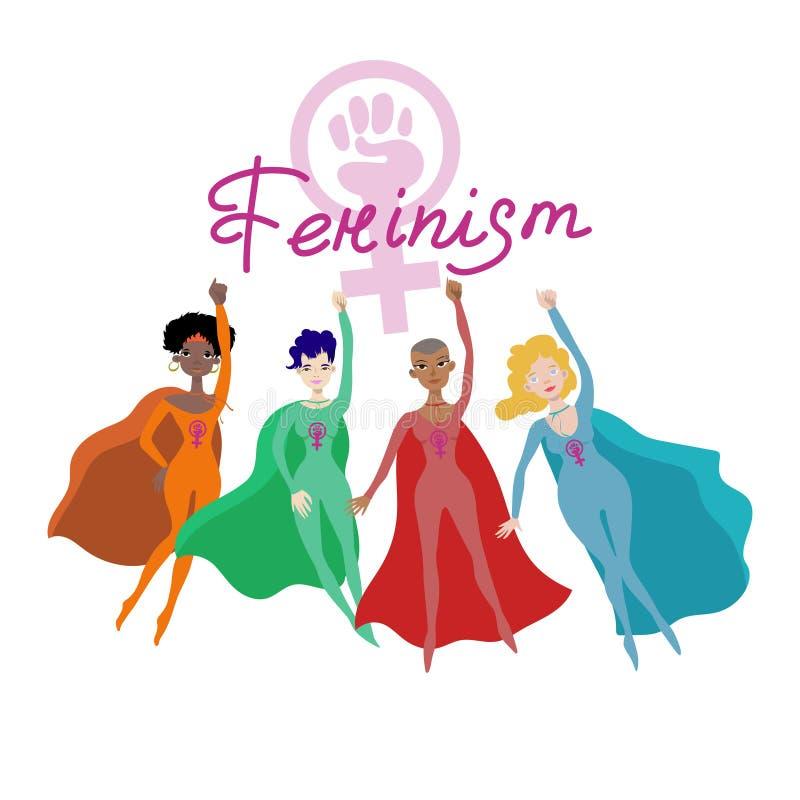 Cartaz feminista com vetor fêmea de quatro superheroines ilustração do vetor