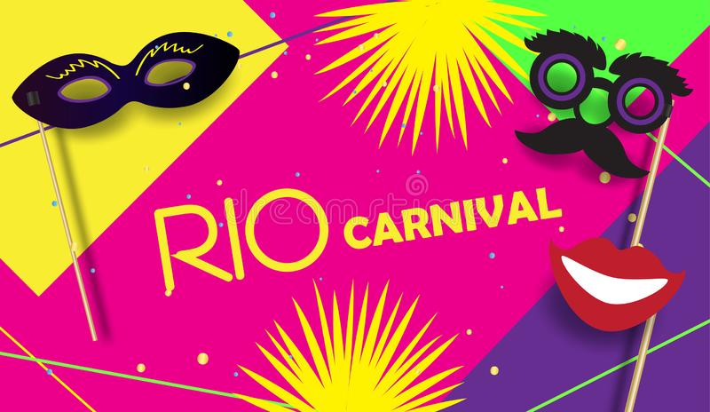 Cartaz festivo Mardi Gras de RIO Carnival, vetor brasileiro do molde do sinal do festival ilustração stock