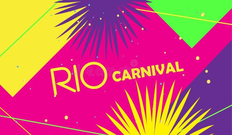 Cartaz festivo Mardi Gras de RIO Carnival, vetor brasileiro do molde do sinal do festival ilustração royalty free