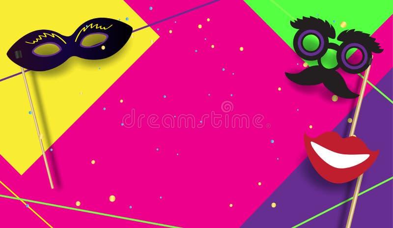 Cartaz festivo Mardi Gras do partido do carnaval, vetor brasileiro do molde do sinal do festival ilustração do vetor