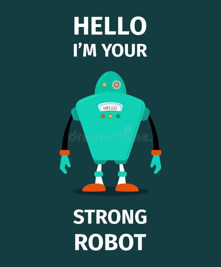 Cartaz forte do vetor do robô ilustração royalty free