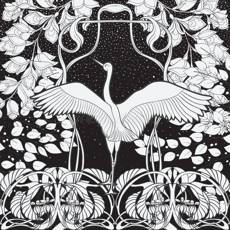 Cartaz, fundo com flores decorativas e pássaro no estilo do art nouveau Gráficos preto e branco n ilustração stock