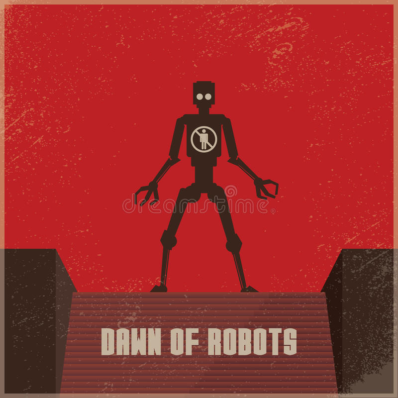 Cartaz futuro Dystopian do robô com o robô como a ameaça aos seres humanos Vector o conceito do conflito, a guerra entre robôs e  ilustração stock