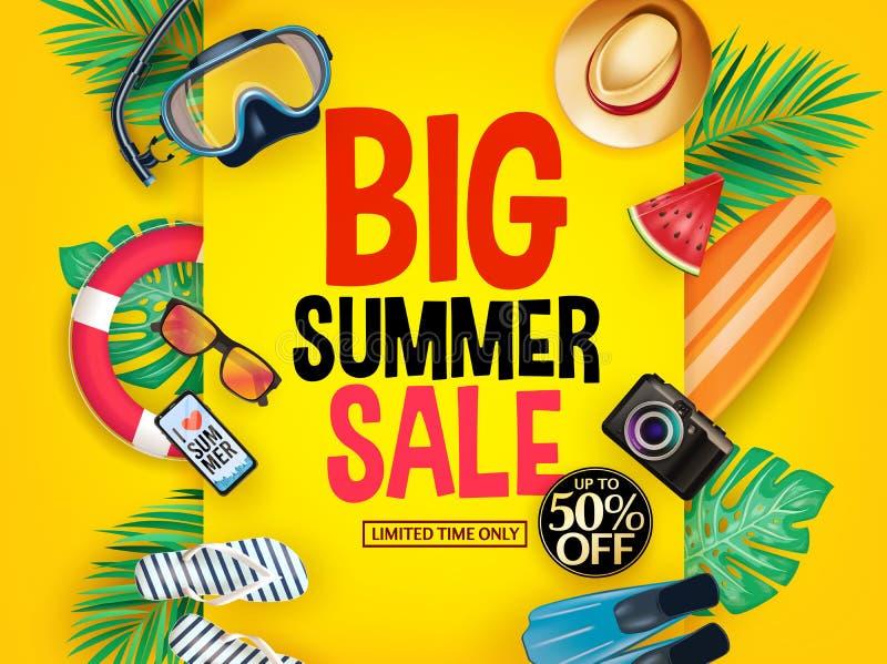 Cartaz grande até 50% da venda do verão fora por tempo limitado somente no fundo do inclinação com máscara, tubo de respiração, a ilustração do vetor