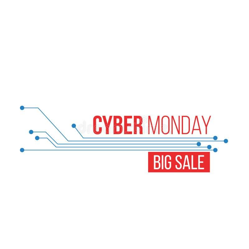 Cartaz grande da venda de segunda-feira do Cyber sobre o fundo do circuito, desconto especial para o conceito da compra da tecnol ilustração stock