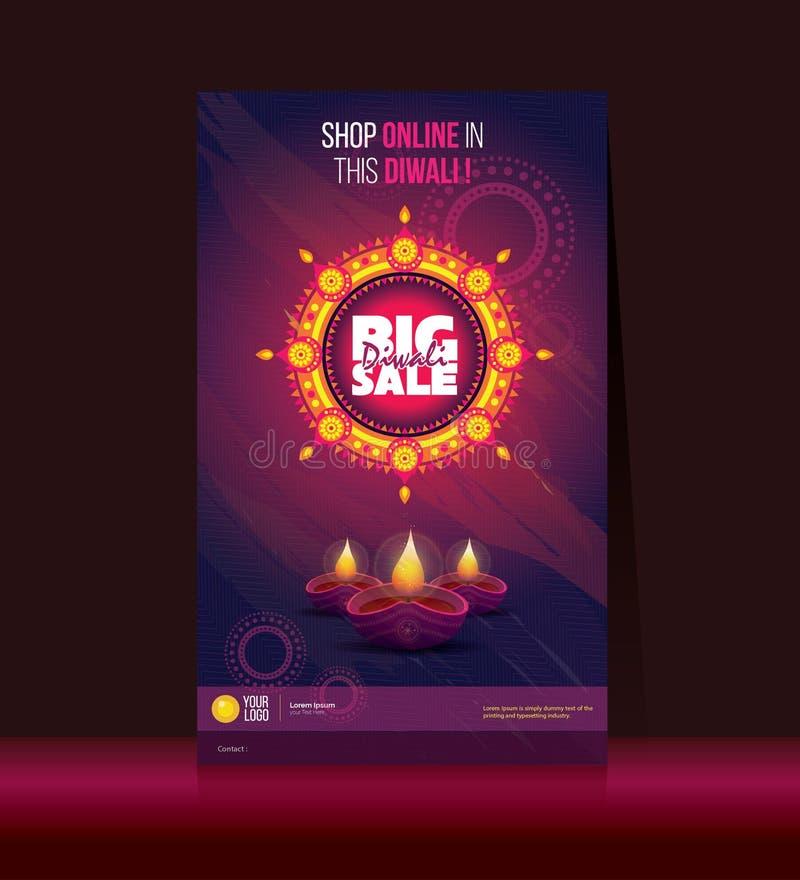 Cartaz grande de Diwali da venda ilustração royalty free