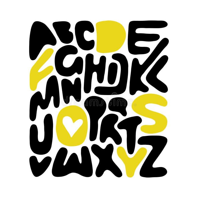 Cartaz handdrawn do alfabeto do vetor Fundo creativo Aperfeiçoe para as tampas do livro ou do caderno, cartão, centros de educaçã ilustração do vetor