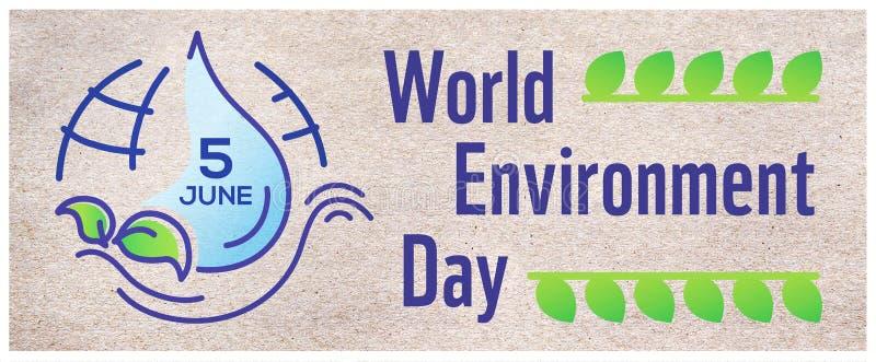 Cartaz horizontal para o dia de ambiente de mundo com linha ilustração, rotulação e terra no fundo do papel do ofício bandeira ilustração do vetor