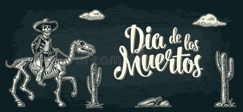 Cartaz horizontal para o dia dos mortos Rotulação do diâmetro de los muertos ilustração stock