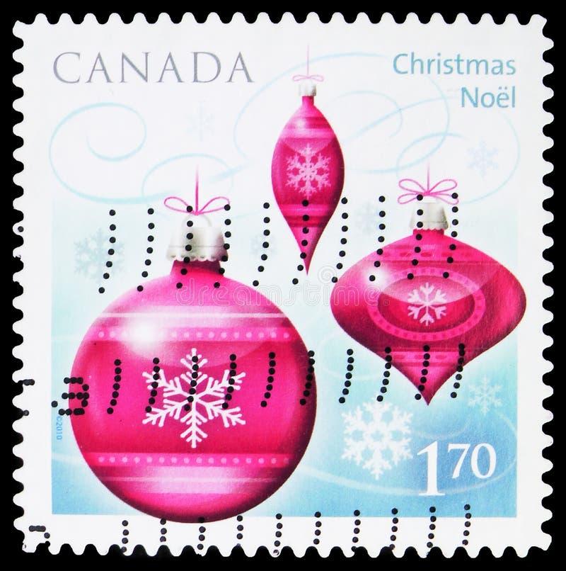 Cartaz impresso no Canadá mostra Ornaments de Natal, serie, cerca de 2010 imagem de stock royalty free
