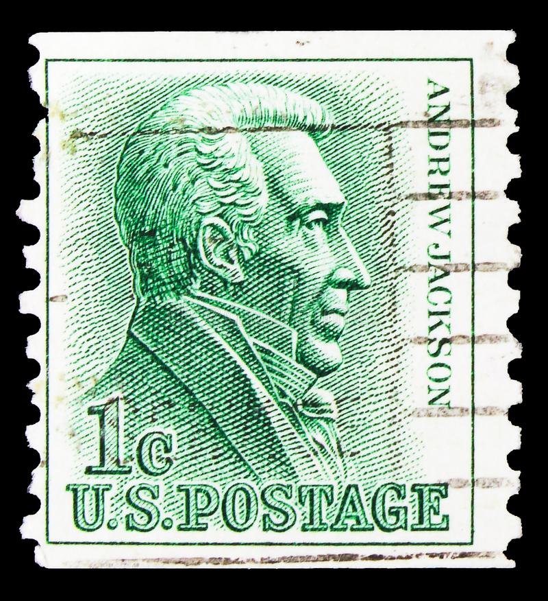 Cartaz impresso nos Estados Unidos mostra Andrew Jackson 1767-1845, 7º Presidente, 1961-1966 Série Regular Issue, cerca de 1966 imagens de stock