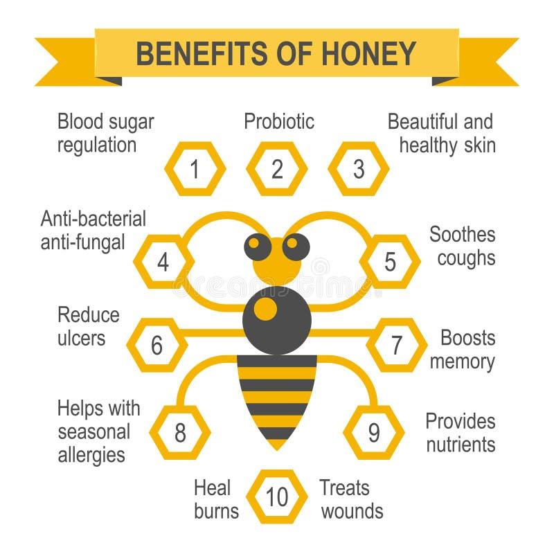 Cartaz infographic do mel saudável ilustração stock