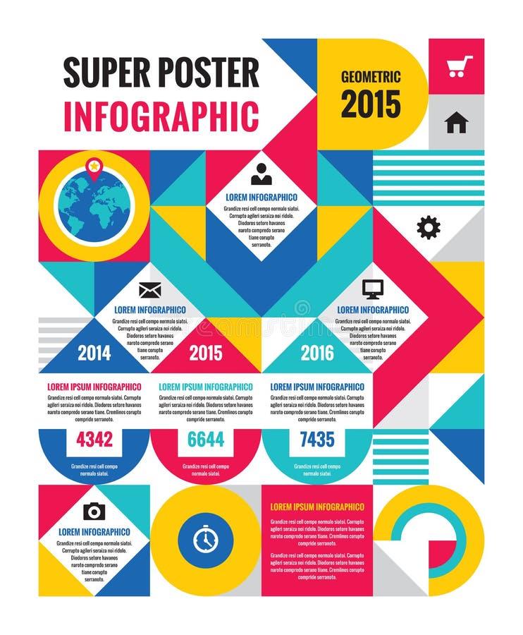 Cartaz infographic geométrico do conceito - ilustração criativa do vetor Negócio incomum infographic ilustração royalty free