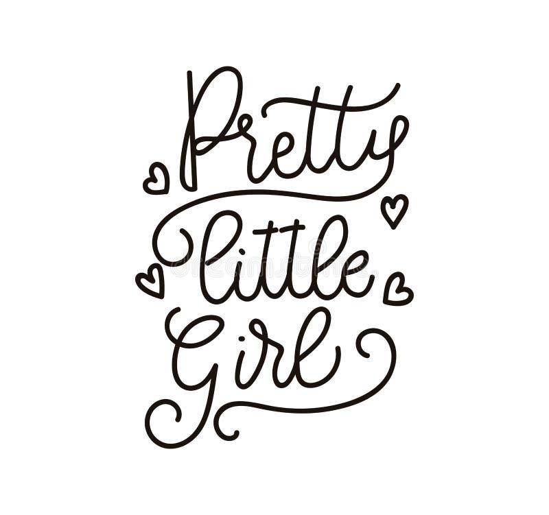 Cartaz inspirado do vetor da rotulação da menina bonita L bonito ilustração stock