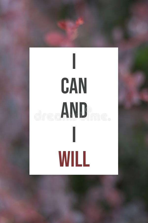 Cartaz inspirado eu posso e eu vou faz4e-lo fotos de stock royalty free
