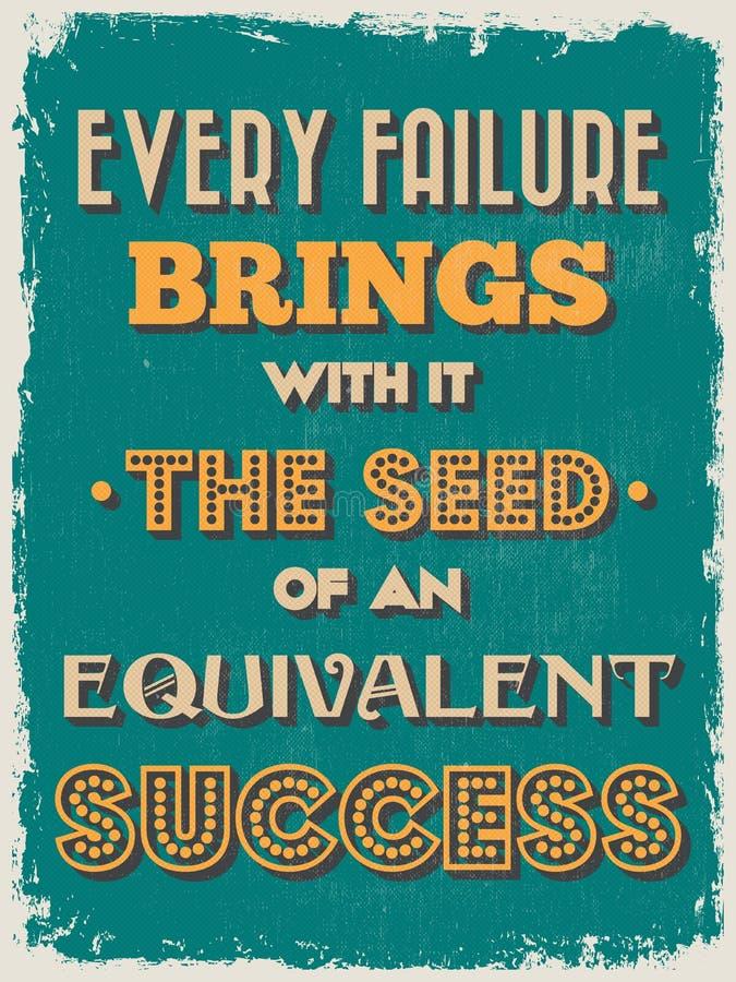 Cartaz inspirador das citações do vintage retro Ilustração do vetor ilustração stock