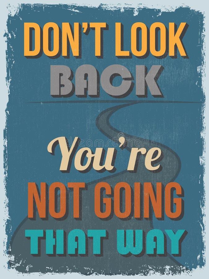 Cartaz inspirador das citações do vintage retro Vetor IL ilustração royalty free