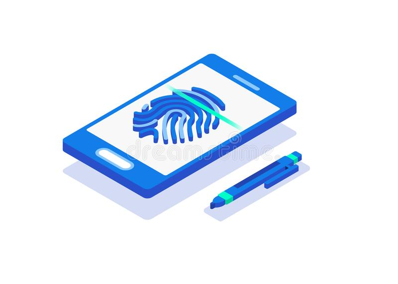 Cartaz isométrico biométrico da composição dos métodos de autenticação ilustração royalty free