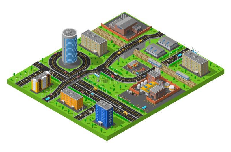 Cartaz isométrico da composição da área industrial da cidade ilustração royalty free
