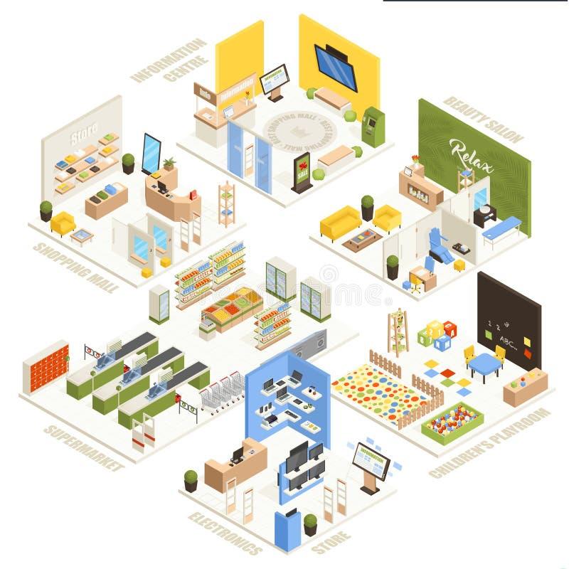 Cartaz isométrico da composição do shopping ilustração stock