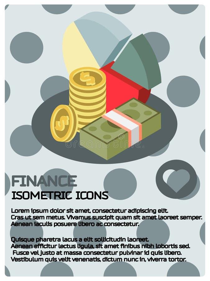 Cartaz isométrico da cor da finança ilustração royalty free