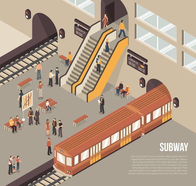 Cartaz isométrico da estação subterrânea do metro do metro ilustração stock