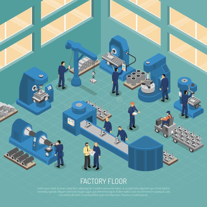 Cartaz isométrico da instalação de produção da indústria pesada ilustração royalty free