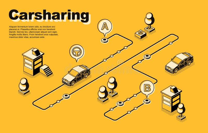 Cartaz isométrico do vetor do serviço de sentido único do carsharing ilustração royalty free