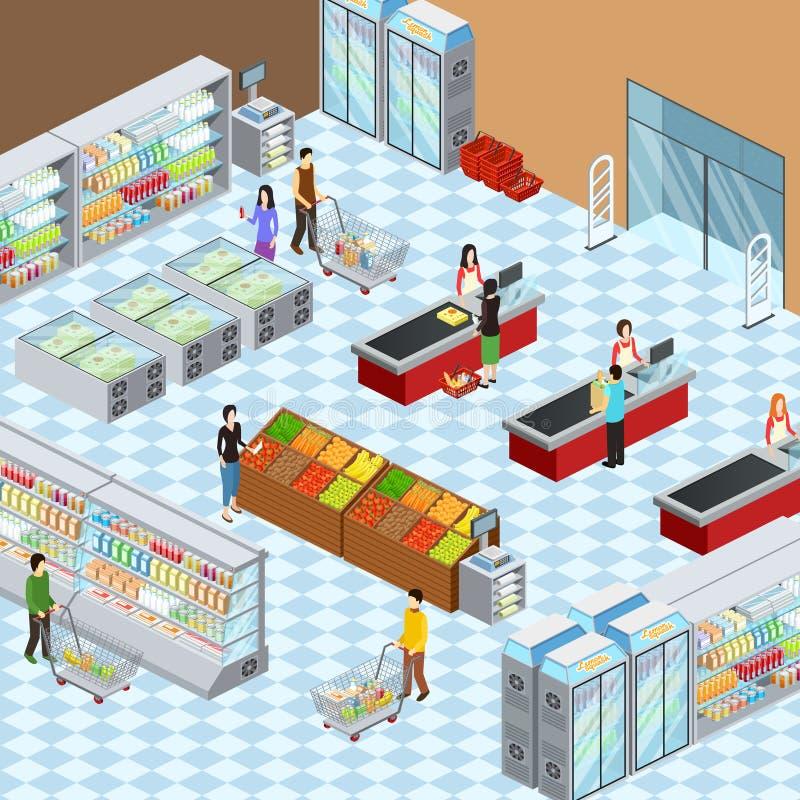 Cartaz isométrico interior da composição do supermercado moderno ilustração do vetor