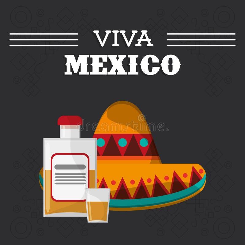 Cartaz latino-americano do evento de Viva México ilustração stock