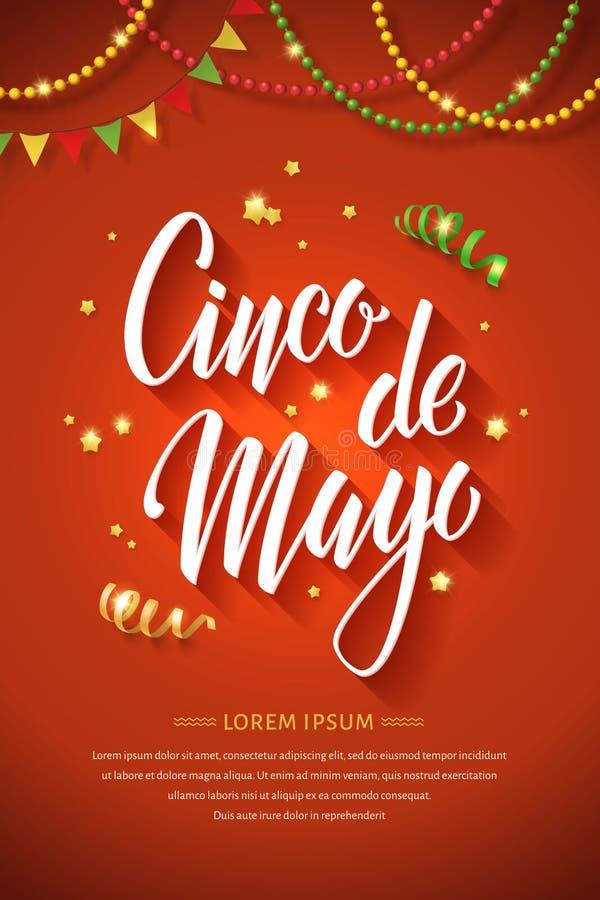 Cartaz letteing de Cinco de Mayo foto de stock royalty free