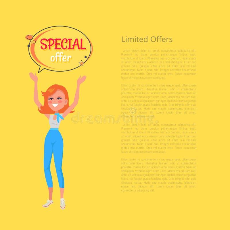 Cartaz limitado das ofertas com a mulher que mantém as mãos ilustração do vetor