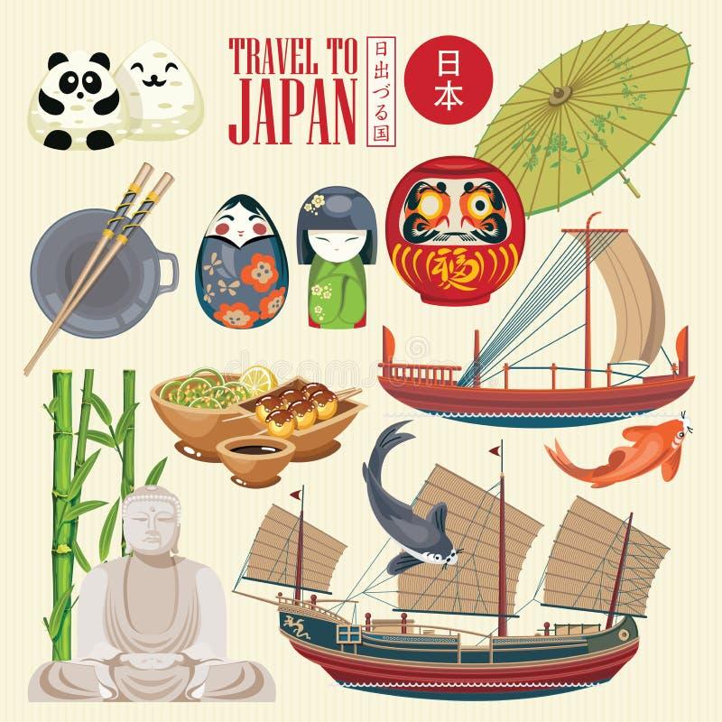 Cartaz lindo do curso de Japão Ícones japoneses da cultura | VERMELHO um ilustração royalty free